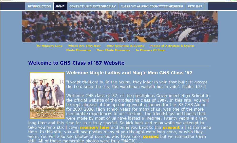 GHS Class of '87 Website - Home Page